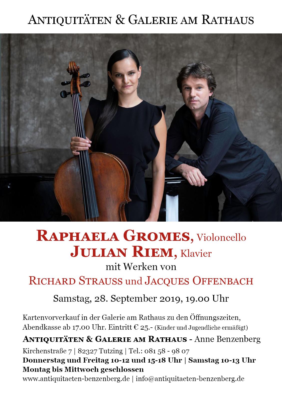 Raphaela Gromes, Violoncello, und Julian Riem, Klavier,  mit Werken von Richard Strauss und Jacques Offenbach. Samstag, 28. September 2019, 19.00 Uhr